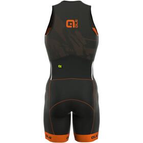 Alé Cycling Triathlon Long Record Traje Triatlón Cremallera Frontal Hombre, black-fluo orange